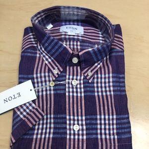 Eton Purple Linen Button Down Shirt Short Sleeve
